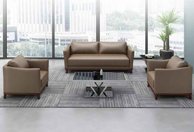 米黄色真皮商务沙发 办公沙发茶几组合 双人位真皮接待沙发