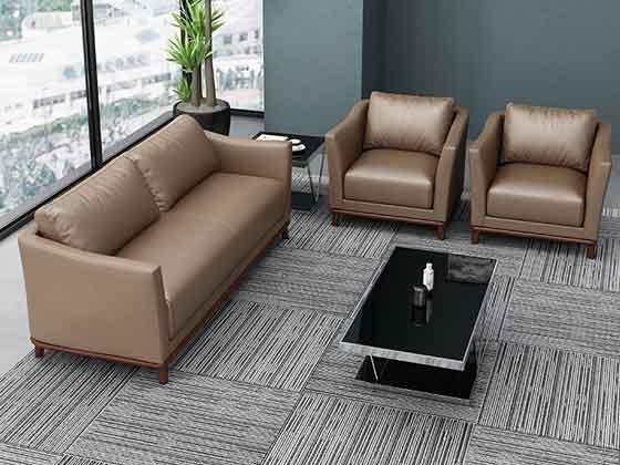 米黄色真皮商务沙发-办公室沙发-品源办公沙发