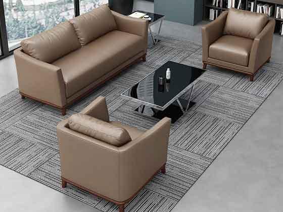 双人位真皮接待沙发-沙发定制厂家-品源办公沙发