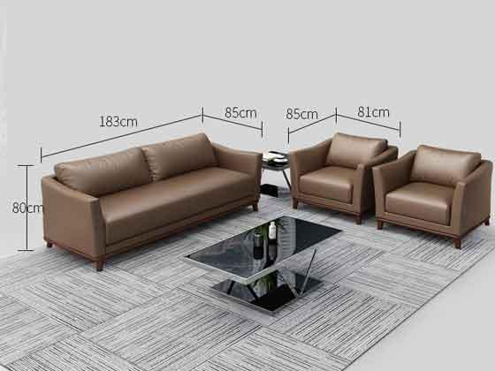 双人位真皮接待沙发尺寸-办公沙发-品源沙发