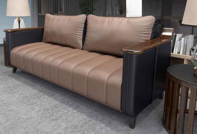 咖啡色办公沙发 西皮1+1+3沙发