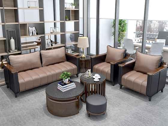 咖啡色办公沙发-沙发定制厂家-品源办公沙发