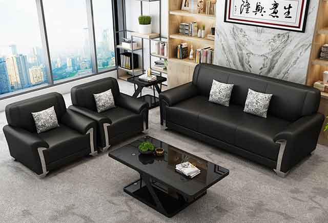 上海商务真皮沙发 黑色真皮办公沙发 接待真皮沙发茶几组合