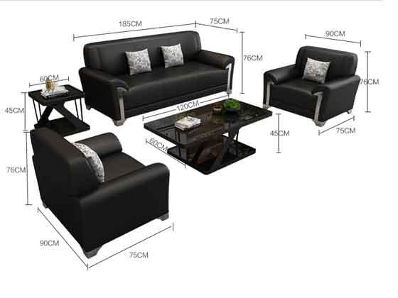 黑色真皮办公沙发尺寸-办公沙发-品源沙发