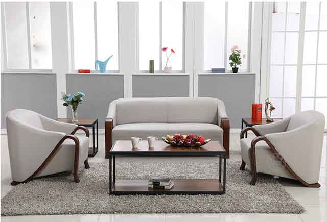 皮质和木制结合的沙发办公_沙发整体实木框架