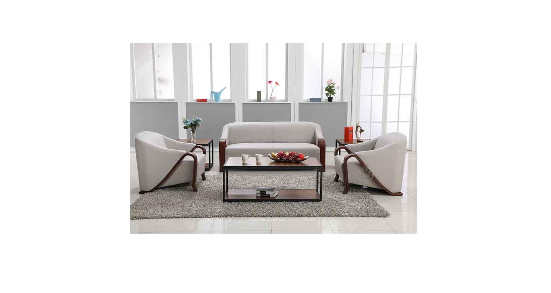 皮质和木制结合的沙发办公-办公沙发-品源办公沙发
