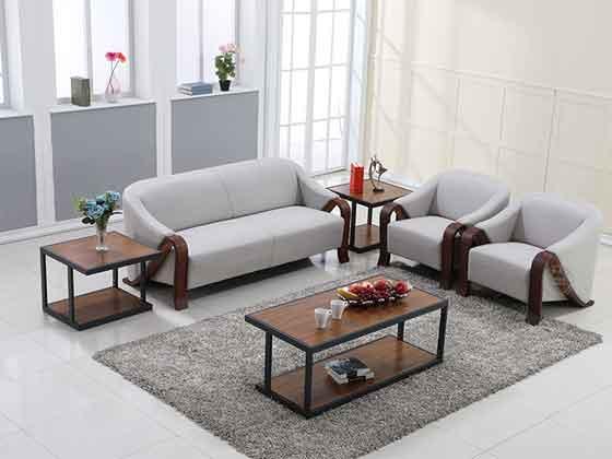 皮质和木制结合的沙发办公-办公室沙发-品源办公沙发