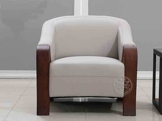 皮质和木制结合的沙发办公-沙发厂家-品源办公沙发