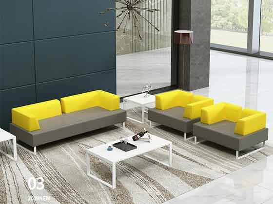 接待会室真皮三人位沙发茶几组合-沙发定制厂家-品源办公沙发