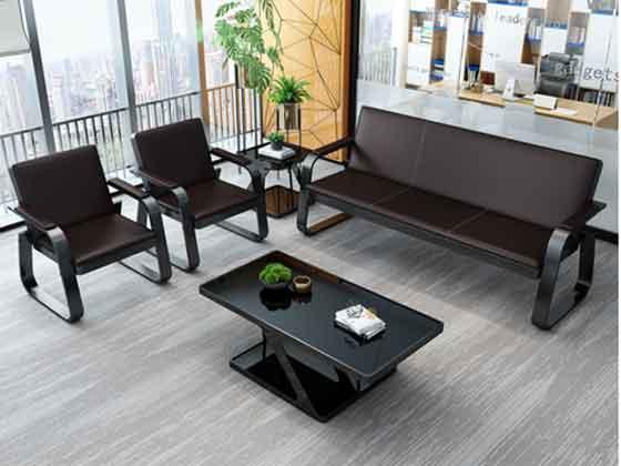 棕色办公沙发-办公室沙发-品源办公沙发