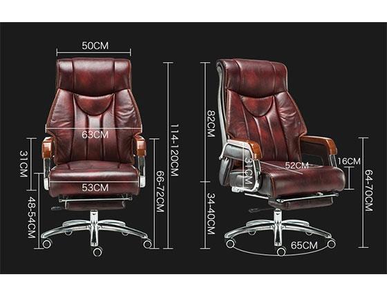 牛皮升降椅人体工学尺寸-品源老板椅