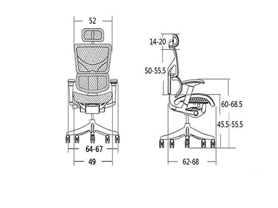 高背转座椅尺寸-品源办公椅