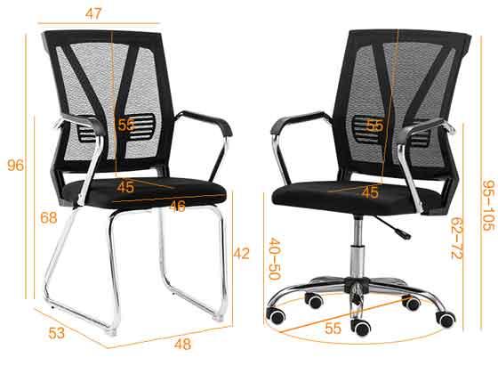 钢架会议椅图片尺寸-品源会议椅