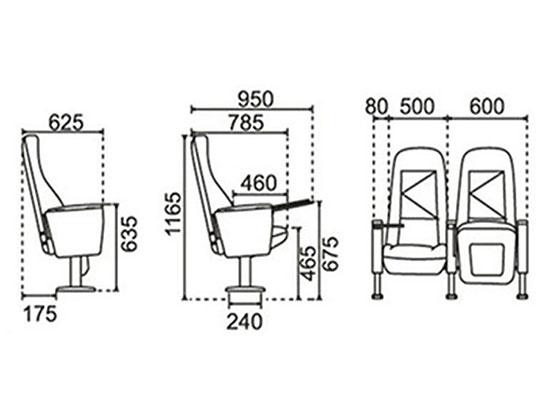 剧院椅供应商尺寸-品源礼堂椅