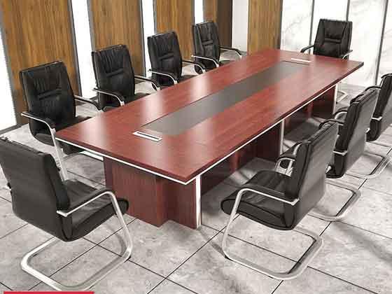 大型实木贴皮会议桌-办公室会议桌-品源办公室会议桌