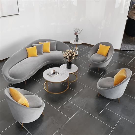 休闲接待沙发组合 布艺沙发会客弧形