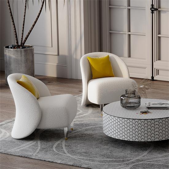 书房单人沙发沙发椅 布艺沙发休闲圆弧形