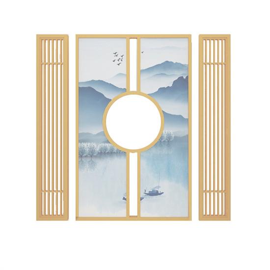 新中式餐厅隔断墙屏风 布艺屏风隔断墙