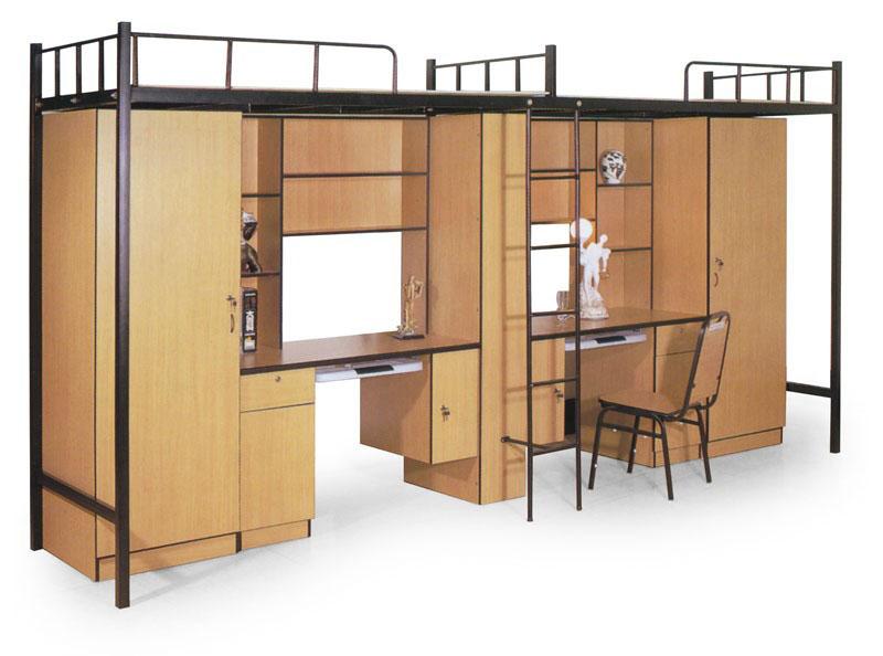大学宿舍床 双层公寓床 底层带木制书柜双层床 XSC20150903—品源