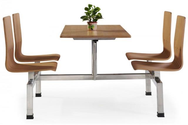 上海连体快餐桌椅 食堂餐桌椅 四人位快餐桌椅组合 WCZY005-品源