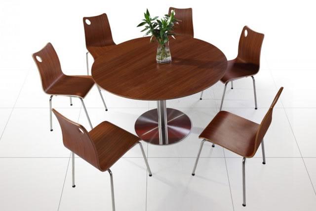 上海咖啡厅桌椅 甜品店圆形桌椅 胡桃色木餐桌椅组合 WCZY001-品源
