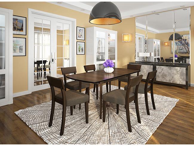 新中式餐厅桌椅 现代时尚餐厅桌椅 4人长条形桌椅 CT150905-品源