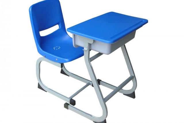蓝色学生课桌椅 连体学生课桌椅 小学生课桌椅 儿童学习桌椅 KZY150913-品源