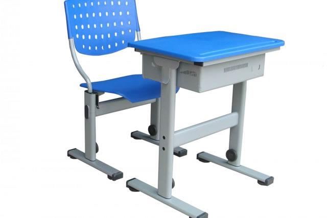 蓝色学生课桌椅 带斗学生桌椅 可升降课桌椅 KZY150912-品源
