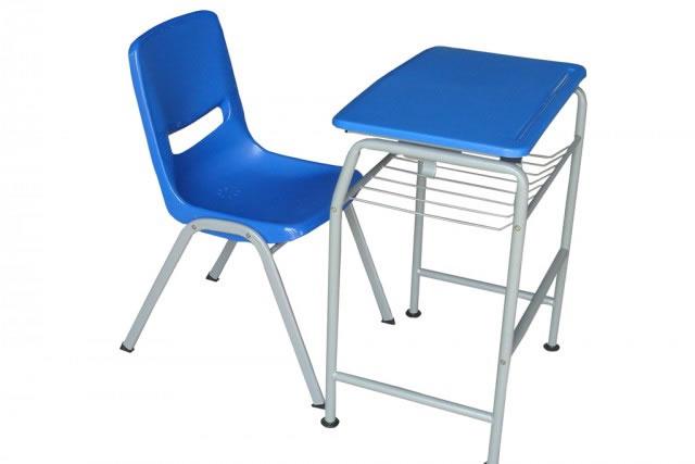 培训课桌椅 蓝色带斗学生桌椅 钢制学生课桌椅 KZY150911-品源
