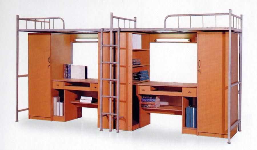 钢制床架双层床 带木质电脑桌学生床 公寓床 XSC20150904―品源