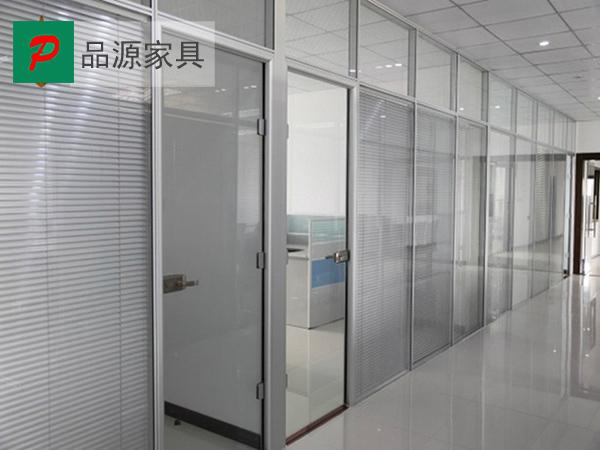 现代办公室高隔断 磨砂玻璃隔断 双玻百叶隔断 GGD150912―品源
