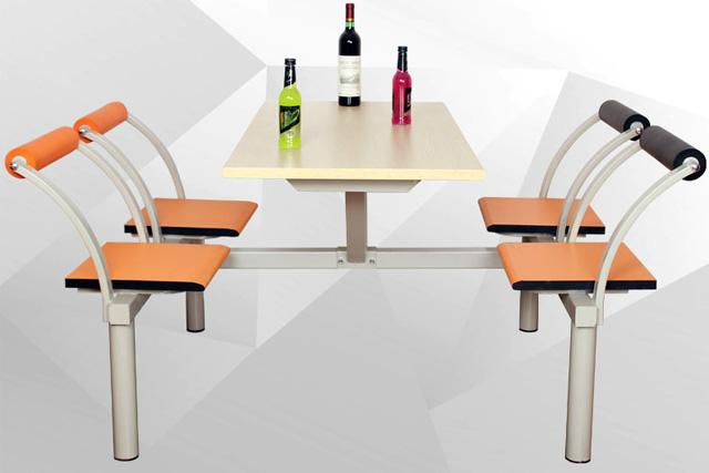 新款时尚快餐桌椅 食堂四人餐桌 连体快餐桌椅组合 WCZY017-品源