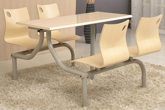 上海快餐桌椅 钢木结构餐桌椅 员工餐桌椅 WCZY015-品源