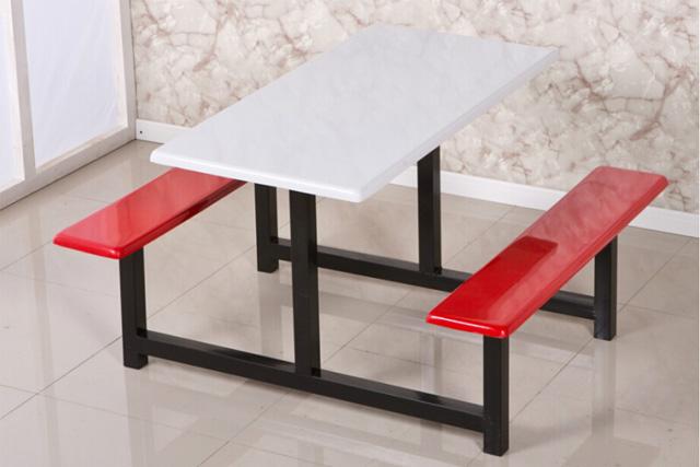 食堂餐桌椅 连体四人位公司餐桌椅 学校不锈钢餐桌椅 WCZY013-品源