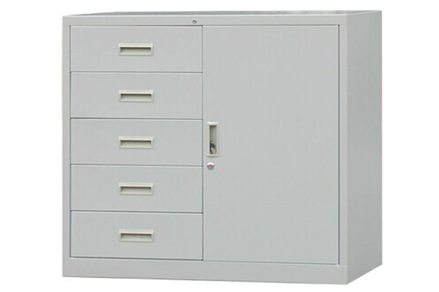 带锁铁皮柜 偏五斗文件柜 办公室矮柜 WTPG020-品源