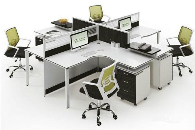 带铝合金玻璃挡板屏风桌 4人位防火板屏风工作位 带活动柜办公桌 WXPF039-品源