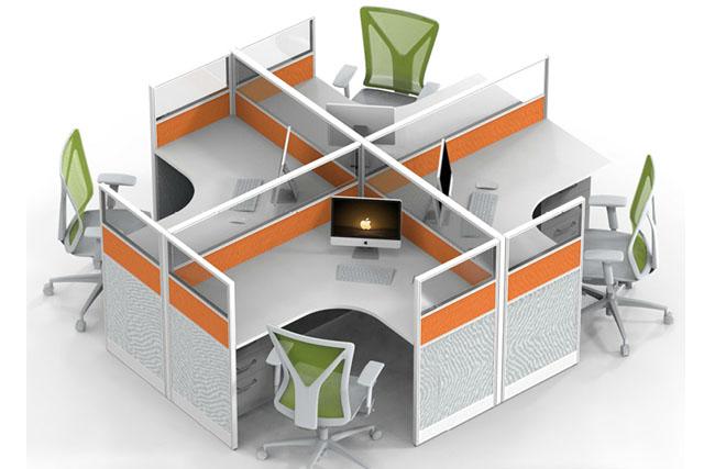 4人位屏风组合 防火板办公隔断 带铝合金挡板工位隔断 WXPF037-品源