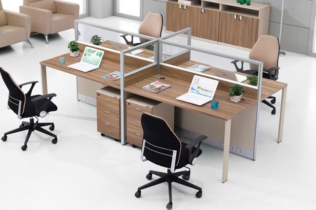 4人位职员桌 客服室办公桌 电话销售屏风隔断 WXPF035-品源
