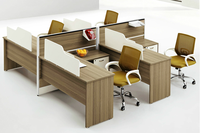 4人位防火板办公桌 带活动柜办公屏风 可拆卸桌面屏风 WXPF029