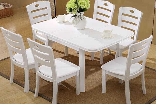 上海中餐厅桌椅 简约白色小型餐桌椅 方形餐桌椅组合 WCZY010-品源