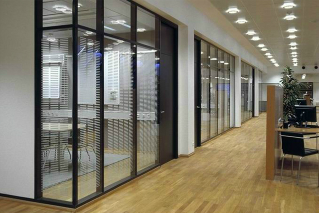 上海钢化玻璃隔断 双层玻璃隔断 办公室固定隔墙 WGGP008-品源